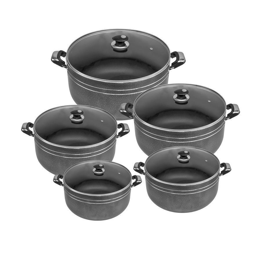 5pc non adhésive en aluminium casserole Casserole Marmite Poêle avec couvercle en verre grand