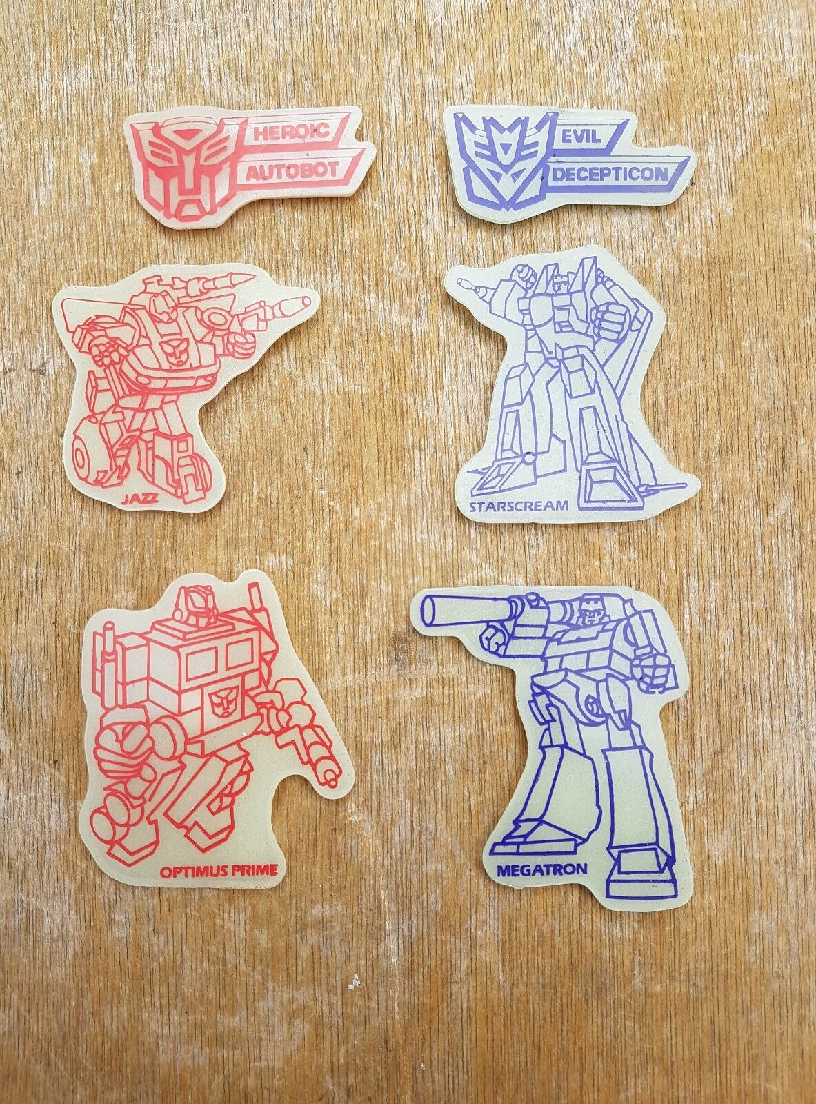 Original Vintage années 1980 TRANSFORMERS G1 Glow In In In The Dark Wall Plaques/insignes X 6 6e6e3f