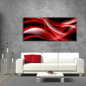 Glass-Picture-Toughened-Wall-Art-Unique-Modern-Print-Red-Abstract-Waves-Any-Size