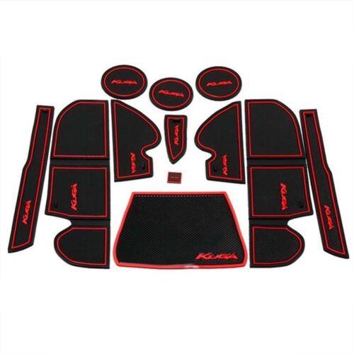 Cup Holder Rubber Pad Set. Ford Kuga Non-Slip Interior Door Bin Mats