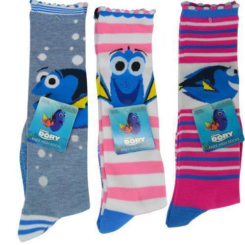 3 Pairs Knee High Socks Assorted Girls Disney Dory Nemo 6-8 Shoe Size 10.5-4 NEW