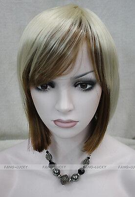 BOB blond Brown Mixed Short Straight Women Female ladies Daily Wig FKTLD094
