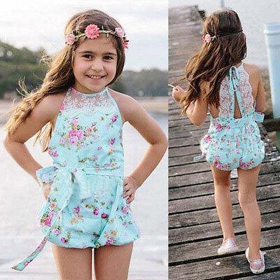 Newborn Baby Girls Kids Lace Floral Halter Romper Jumpsuit Sunsuit Outfits Set