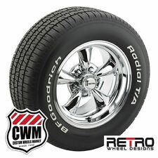 """15 inch 15x8"""" Retro Polished Wheels Rims BFG Tires for Dodge Charger 66-78"""