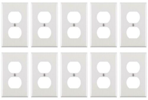 Leviton Standard TR Duplex Receptacle Wall Outlet 15A Wall Plates Incl 10 Pack