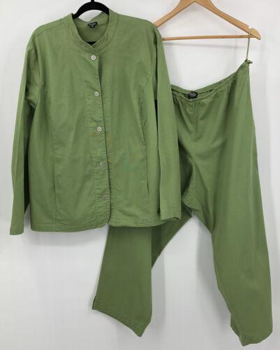 Eileen Fisher Green Jacket Top Pants Set 3x Organi