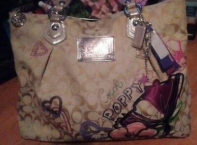 COACH Poppy Khaki Petal Floral Print Applique Signature Tote/Shopper Bag RARE