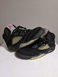 712e1625311 Nike Air Jordan 5 Black Metallic Silver 2000 Size 9.5 Retro V 1999 ...