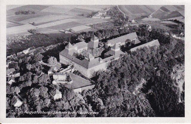 uralte AK, Augustusburg im Erzgebirge Sachsen vom Flugzeug aus Luftbild