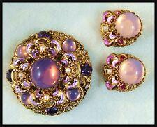 Vintage Fiery Purple Glass and Rhinestone Filigree Brooch Pin & Clip Earrings