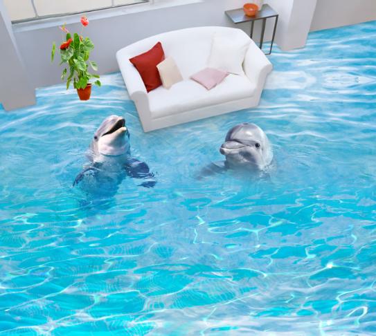 3D Blau Dolphin Sea 7566 Floor WallPaper Murals Wall Print Decal 5D AU Lemon