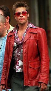 Rosso Club pelle Tutte Fight Giacca in Fc Coat Pitt le Brad Real misure SdggAxzw