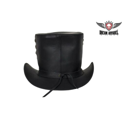 Deadman Genuine Black Leather Top Hat with Brass Studs