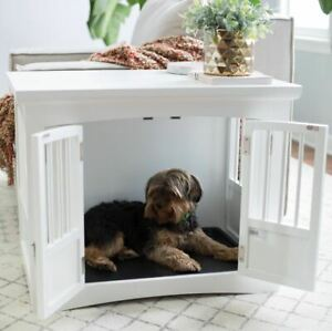 Details About Pet Crate End Table 2 Door Dog Table Kennel Furniture Indoor White Accent Cage