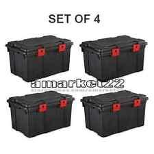 Sterilite 16 Gallon Storage Trunk Set of 4 Garage Attic Basement Plastic Black