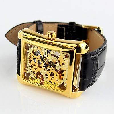 Luxury Men's Leather Gold Dial Skeleton Mechanical Sport Army Wrist Watch