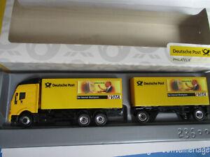 SCHUCO-H0-IVECO-Kofferlastzug-Deutsche-Post-unbespielt-in-der-Box
