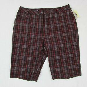 Annika-Women-039-s-Golf-Shorts-Black-amp-Red-Plaid-Mid-Length-Above-Knee-Size-10