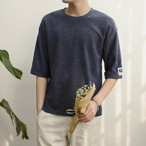 Mens-Summer-Tops-Half-Sleeve-Crew-Neck-Pullover-Solid-Youth-T-shirts-Blouses-New