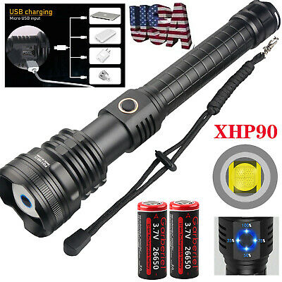Police 900000Lumen xhp90+COB LED Flashlight Zoom Rechargeable Torch Ultra Bright