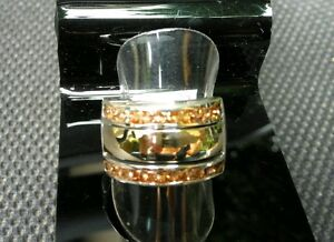 Two-Tone-Sterling-Silver-amp-9k-Gold-AAA-Citrine-CZ-Ring-size-U