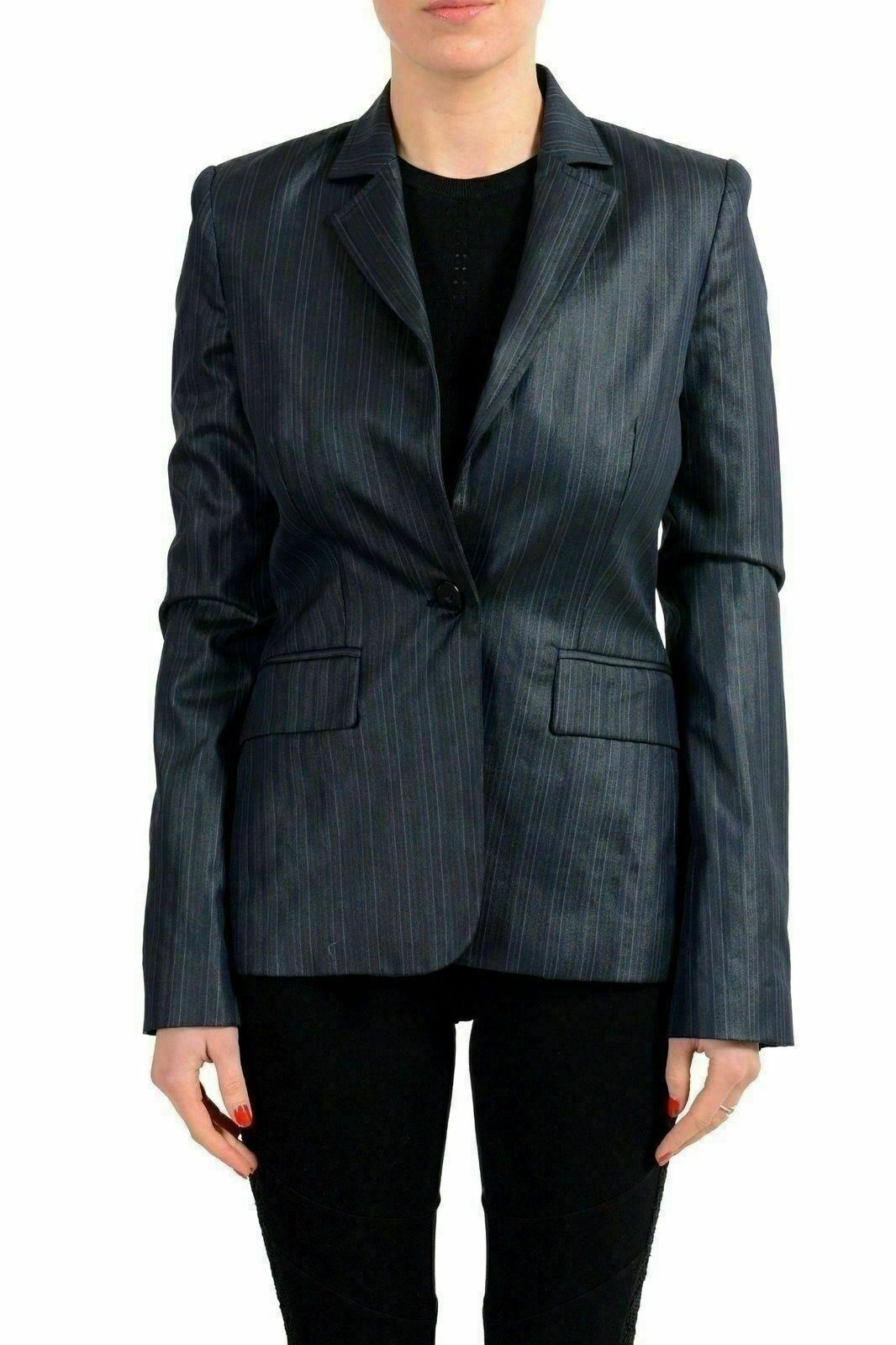 Just Cavalli Navy Striped One Button Women's Blazer US S IT 40