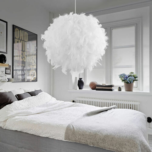Pink//White//Rose Feather Shade Ceiling Pandant 30//40cm Light E27 Lampshade