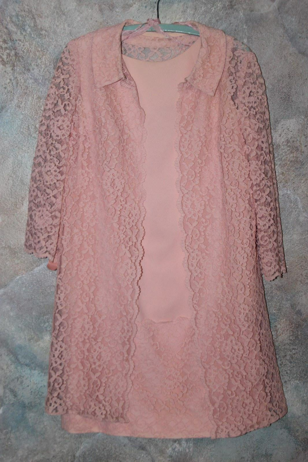 Vintage Pink Dress with Lace Jacket Mother of The Bride, Jackie O, Super Sweet
