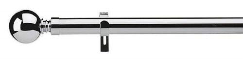 28mm Diameter Chrome EYELET Curtain Pole Belgravia Finials 120cm