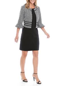 NWT PERCEPTION BLACK WHITE CAREER JACKET DRESS SIZE 16  $108