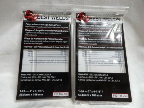 Pair of Best Welds Polycarbonate Magnifying Lens//Cheater Lens 2.50 932-146-250