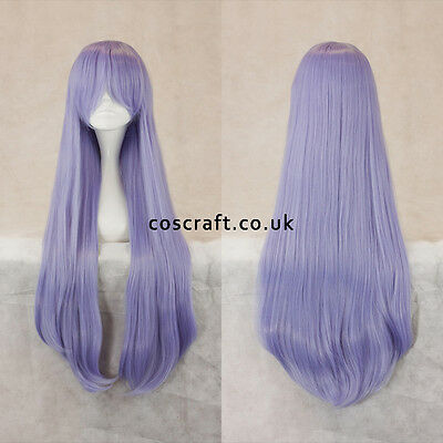80cm long straight cosplay wig with fringe in pale lilac, UK SELLER, Alex style