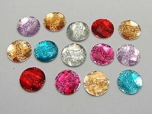 200-Mixed-Color-Acrylic-Flatback-Round-with-Dotted-Wave-Rhinestone-Gems-12mm