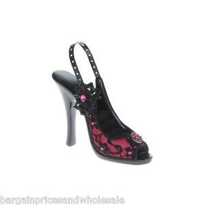 Grano de flor rosa encaje Novedad Diamante de Imitación Zapatos Tacón Alto Anillo Soporte De Pantalla De Regalo