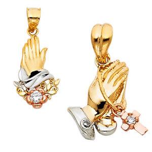 14K Real Two Tone Gold Praying hands Religious Pendant For men women