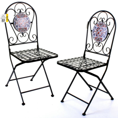 5PC MOSAIC BISTRO SETS ROUND TABLE FOLDING CHAIRS OUTDOOR GARDEN DINING CAFE