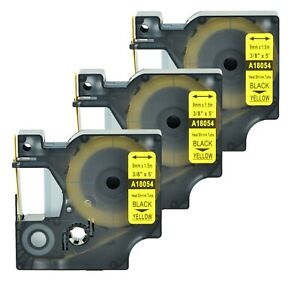 """2 Heat Shrink Tube Label IND Tape Black on Yellow 18054 For Dymo Rhino 3000 3//8/"""""""