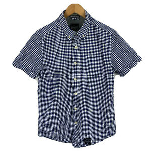 SuperDry-Mens-Button-Up-Shirt-Size-Medium-Slim-Blue-Plaid-Short-Sleeve-Collared