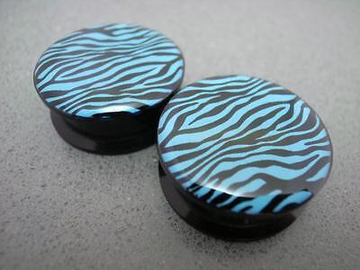 Multiple Size 4mm to 24mm Black Blue Zebra Screw Acrylic Ear Plugs Flesh Tunnels
