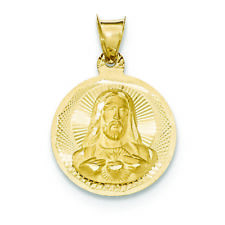 14k Yellow Gold Sacred Heart of Jesus Medal Pendant