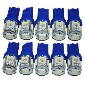 10x-6th-194-T10-LED-Light-Bulbs-2825-LED-Bulbs-Wedge-5-SMD-5050-Blue-2825-12V