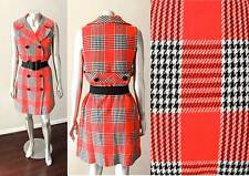 Mod Gogo Plaid Vintage 60s Wool Red Black White Double Breasted Dress M