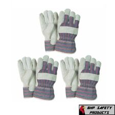 3 Pairs Leather Working Gloves Palm Safety Split Cowhide Welding Cuff Large