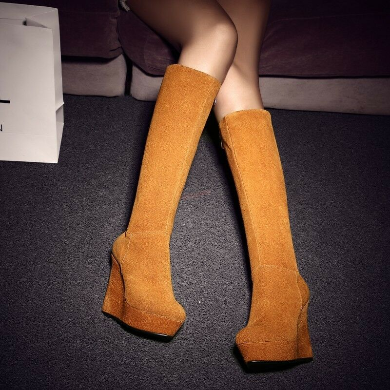 Women's Suede Wedge High Heel Pull On Stretchy Platform Knee High Boots shoes H9