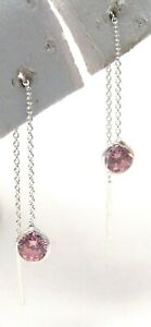 Sterling-Silver-Pink-Threader-Earrings-Cubic-Zirconia-Dainty