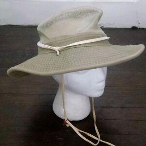 Dorfman Pacific Safari Boonie Hat M Khaki Twill Mesh Wide Brim Chin ... f2f7232db0ab