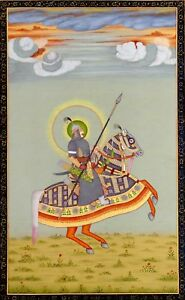 Indian-Portrait-King-Riding-on-horse-with-Traditional-Weapons-Miniature-Painting