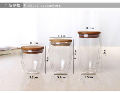 Double Glass Cup Coffee Mugs Tea Cup Tea Set Transparent Heat-resistant Wood Lid