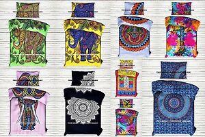 Indian Mandala Duvet Cover Reversible Bohemian Twin Quilt Cotton With Pillow Set