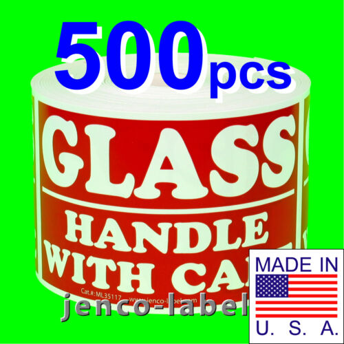 500 3x5 Glass Handle With Care Labels//Stickers ML35117
